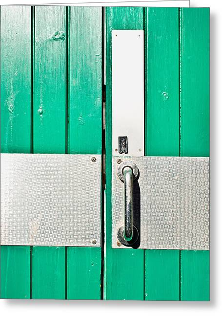 Green Door Greeting Card by Tom Gowanlock