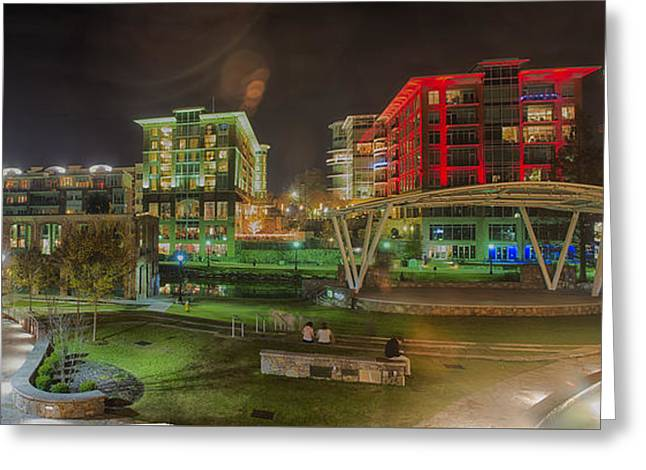 Greenville South Carolina Near Falls Park River Walk At Nigth. Greeting Card