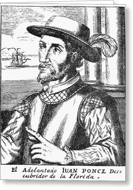 Ponce Greeting Cards - Juan Ponce De Leon Greeting Card by Granger