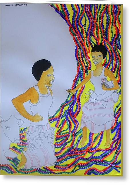 Kintu And Nambi A Ugandan Folktale Greeting Card by Gloria Ssali