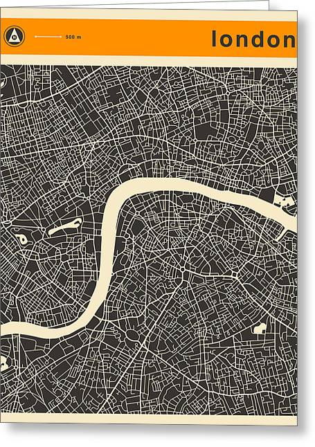 London Map Greeting Card by Jazzberry Blue