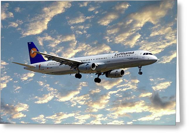 Lufthansa Airbus A321-131 Greeting Card