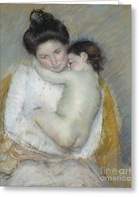 Mother And Child Greeting Card by Mary Stevenson Cassatt