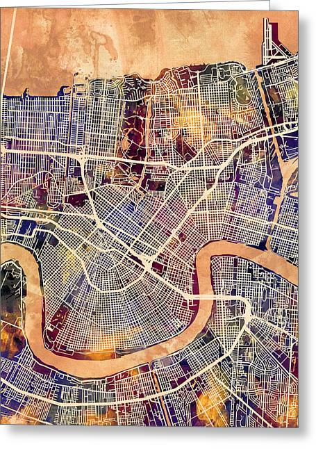 New Orleans Street Map Greeting Card