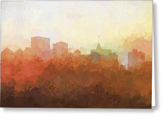 Greeting Card featuring the digital art Oakland California Skyline by Marlene Watson