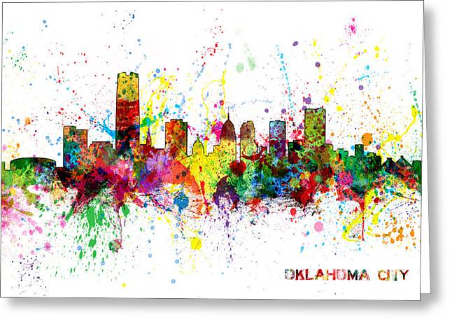 Greeting Card featuring the digital art Oklahoma City Skyline by Michael Tompsett