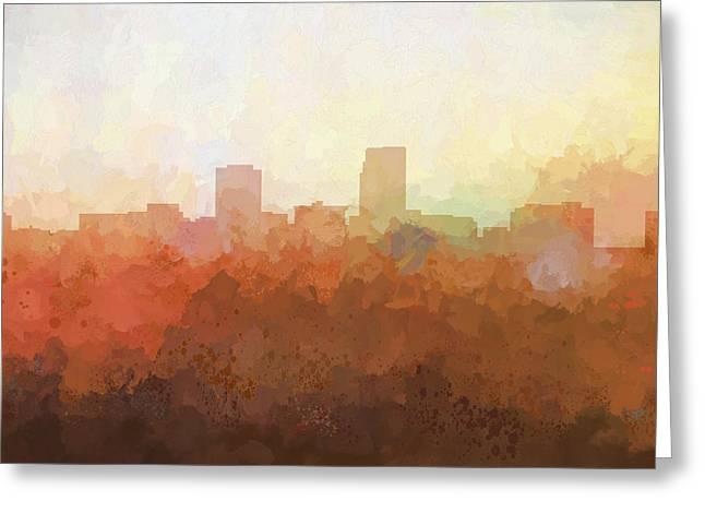 Greeting Card featuring the digital art Omaha Nebraska Skyline by Marlene Watson