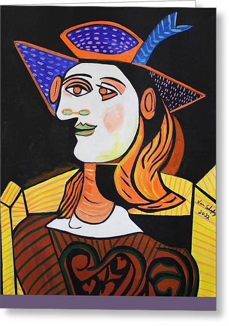 Hair Net  Picasso Greeting Card