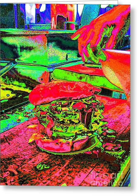Pop Art Burgers French Fries Food Beverage Bright Colors Onion Rings Gracedivine.com Surreal,pop Art Greeting Card by Grace Divine