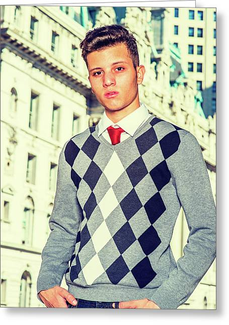 Portrait Of American College Student In New York Greeting Card