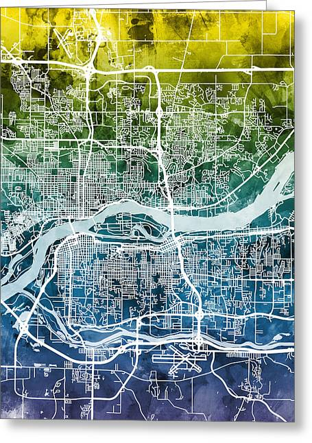 Quad Cities Street Map Greeting Card