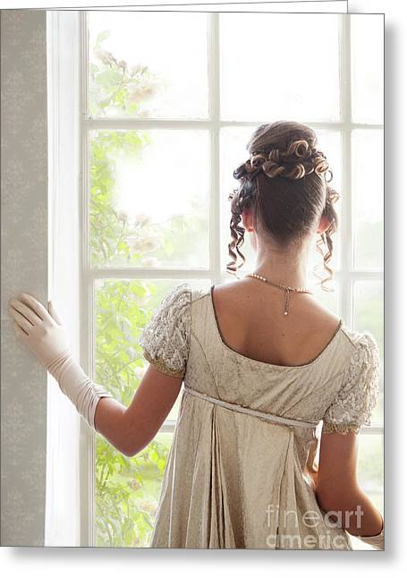 Regency Woman At The Window Greeting Card