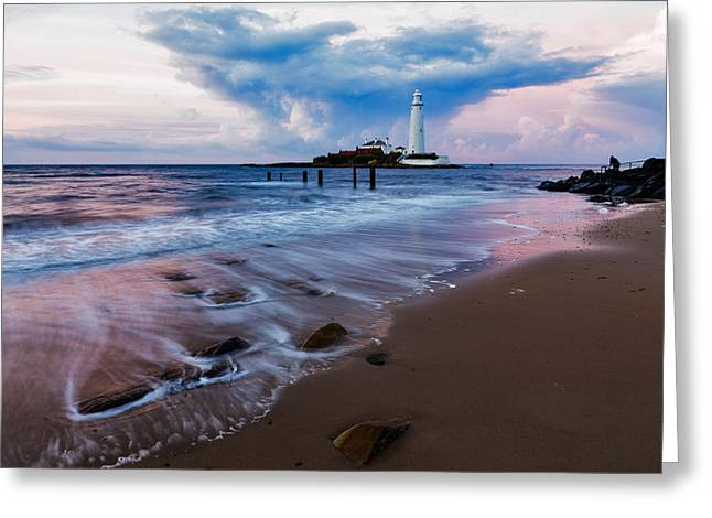 Saint Mary's Lighthouse At Whitley Bay Greeting Card