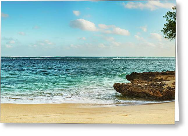 Sandy Tropical Beach. Panorama Greeting Card