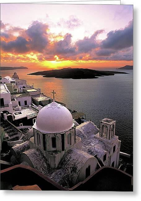 Thirasia Greeting Cards - Santorini  Greeting Card by Manolis Tsantakis