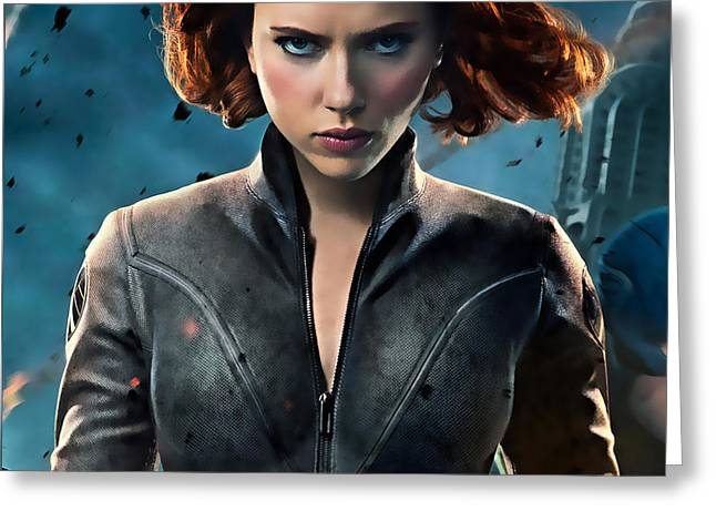 Scarlett Johansson Black Widow Collection Greeting Card