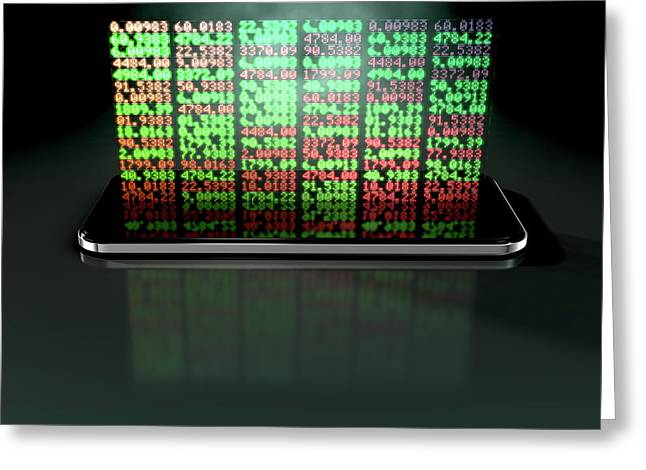 Smart Phone Stock App Greeting Card by Allan Swart