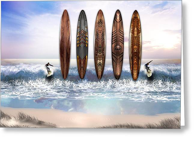 Surfing Art Greeting Card by Vjkelly Artwork