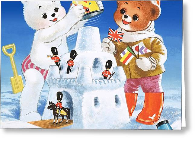 Teddy Bear Christmas Card Greeting Card by William Francis Phillipps