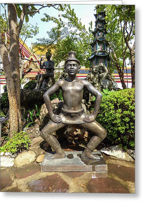 Thai Yoga Statue At Famous Wat Pho Temple Greeting Card