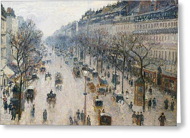 The Boulevard Montmartre On A Winter Morning Greeting Card