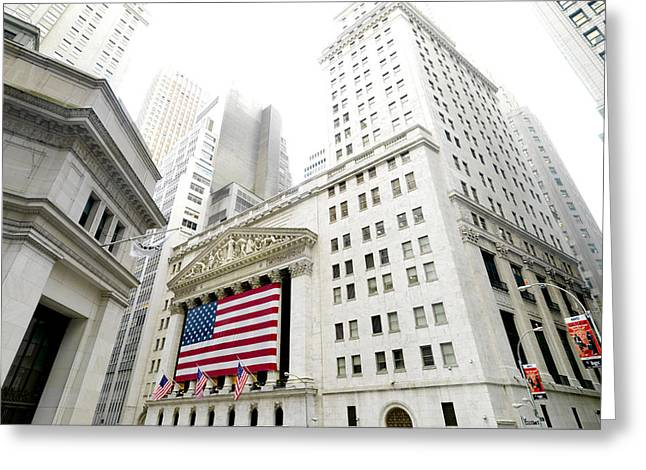 Wall Street Greeting Cards - The Facade Of The New York Stock Greeting Card by Justin Guariglia