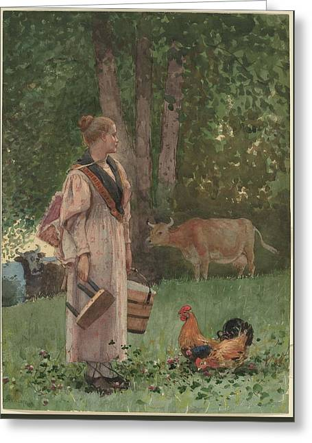 The Milk Maid Greeting Card by MotionAge Designs