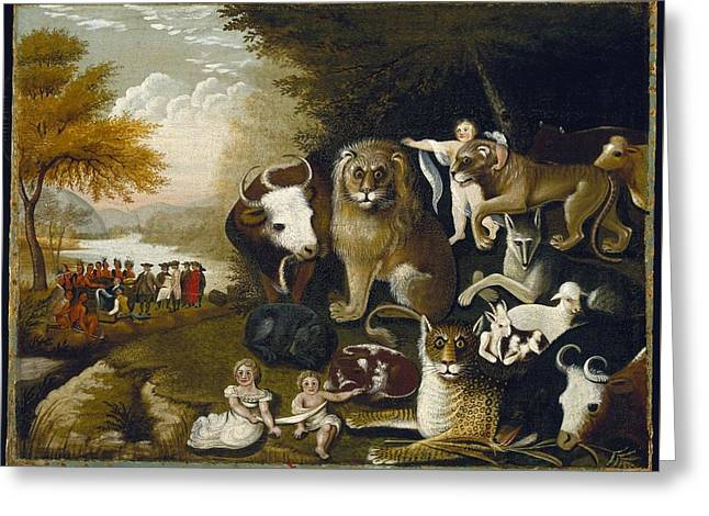 The Peaceable Kingdom Greeting Card by MotionAge Designs