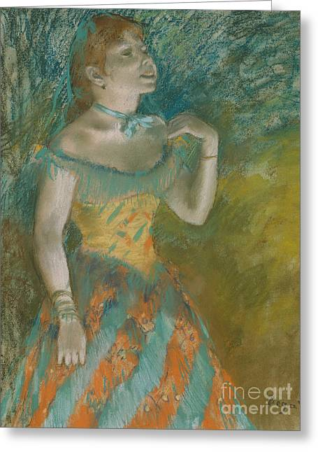 The Singer In Green Greeting Card by Edgar Degas