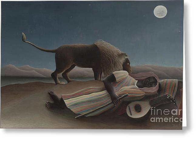 The Sleeping Gypsy Greeting Card by Henri Rousseau