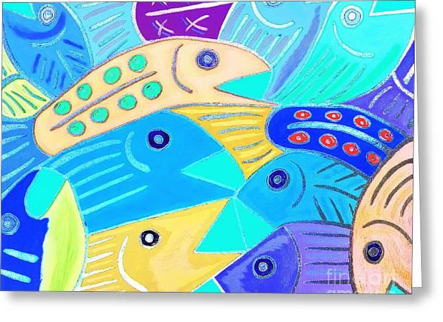 Whimsical Colorful Fish Greeting Card by Scott D Van Osdol