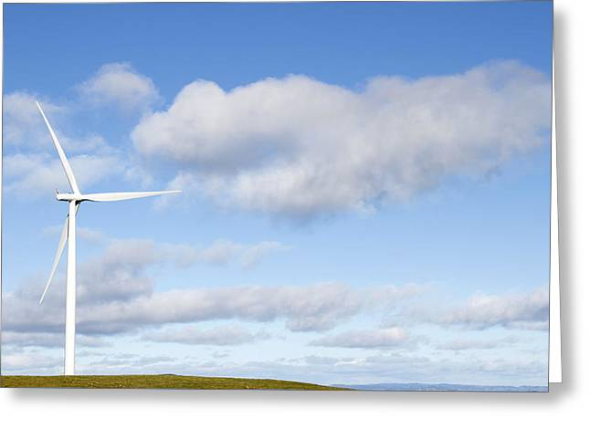 Wind Turbine  Greeting Card by Les Cunliffe