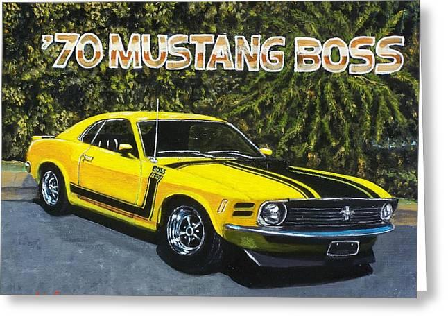 70 Mustang Boss Greeting Card by Charles Vaughn