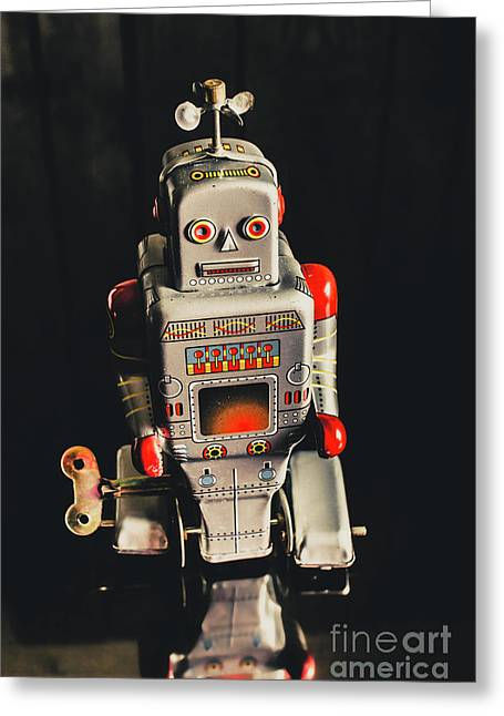 70s Mechanical Android Bot  Greeting Card