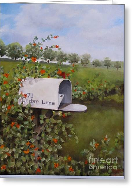 71 Cedar Lane Greeting Card by Karen Olson