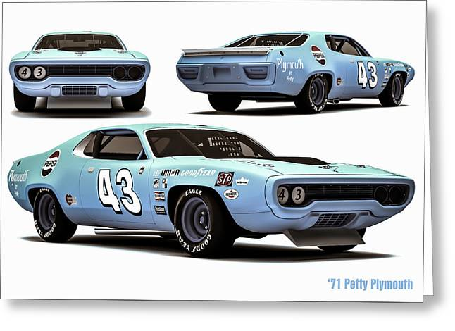 71 Petty Plymouth All 3 Greeting Card