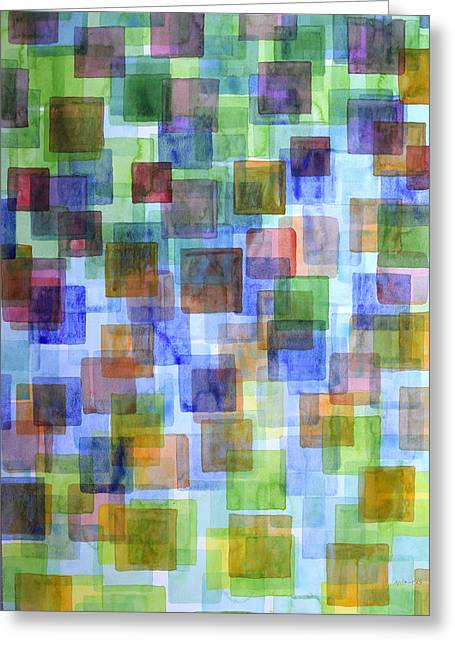 Squares In All The Colors Of The Rainbow Greeting Card by Heidi Capitaine