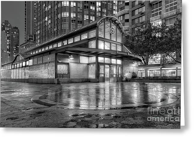 72nd Street Subway Station Bw Greeting Card by Jerry Fornarotto