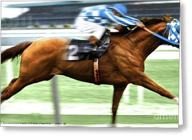 73 Belmont Stakes, Secretariat, Back Stretch, 1 12 Miles, 2 Min 24 Sec Greeting Card by Thomas Pollart