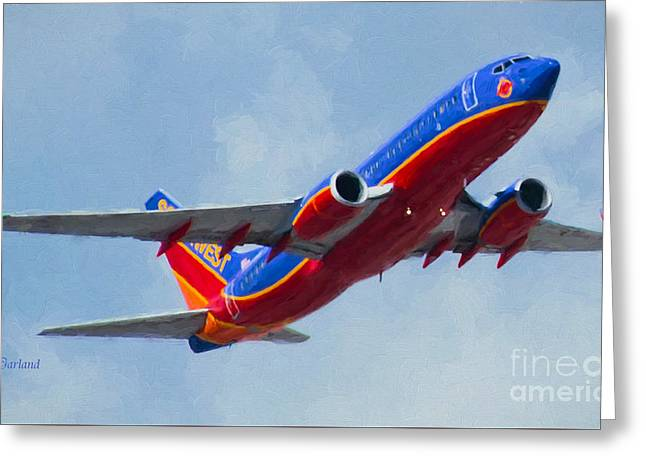 737 In Flight.  Greeting Card