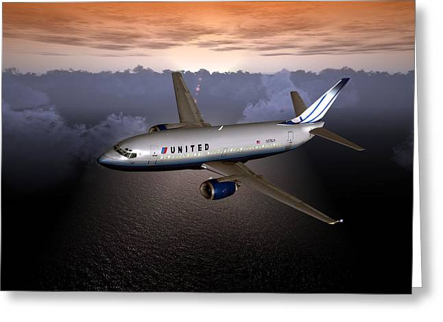 Greeting Card featuring the digital art 737 Ual 06 by Mike Ray