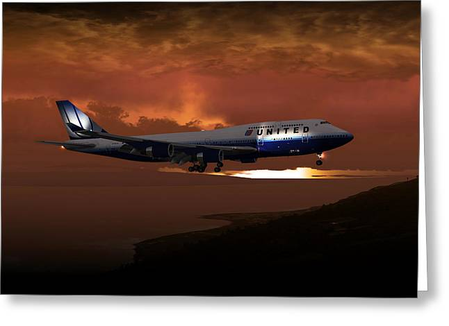 Greeting Card featuring the digital art 747-400 02 Approach Phog by Mike Ray