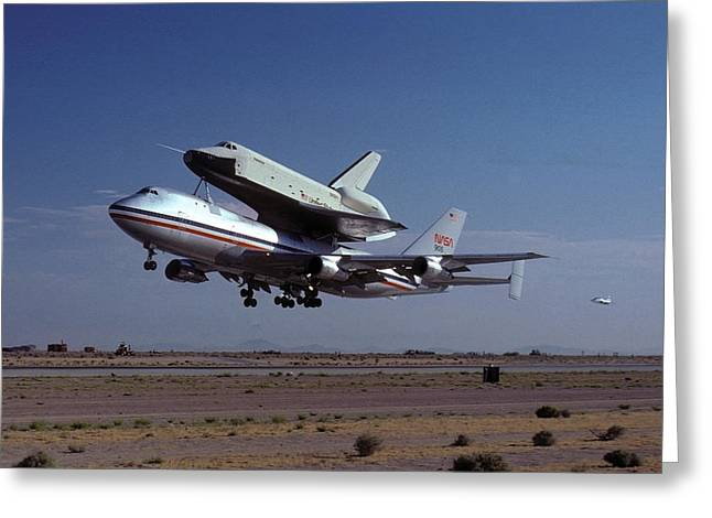 747 Takes Off With Space Shuttle Enterprise For Alt-1 Greeting Card by Brian Lockett