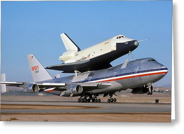 747 Takes Off With Space Shuttle Enterprise For Alt-4 Greeting Card