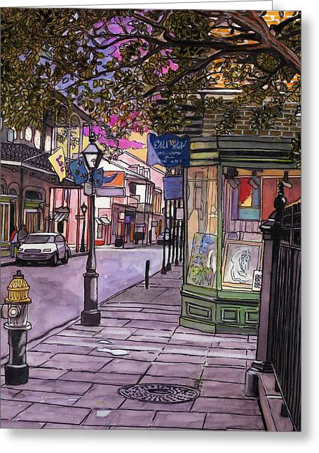 76  French Quarter Gallery By Streetlamp Greeting Card by John Boles