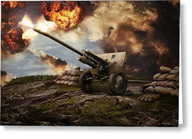 76 Mm Divisional Gun Wwii Artillery Greeting Card by Anton Egorov
