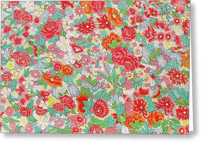 Colorful Red Flowers Art Pattern Prints - Bright Pastel Floral Art Greeting Card