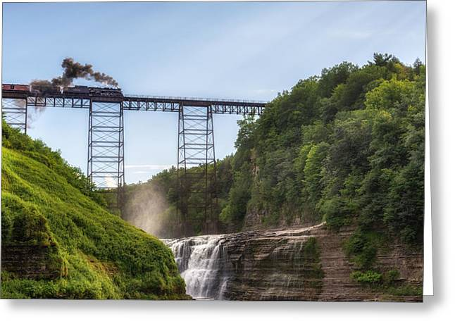 Greeting Card featuring the photograph 765 Over Upper Falls by Mark Papke