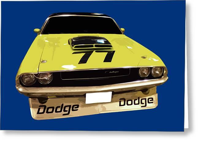 77 Yellow Dodge Greeting Card