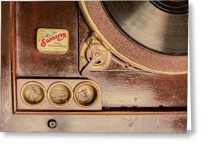 Greeting Card featuring the photograph 78 Rpm And Accessories by Gary Slawsky